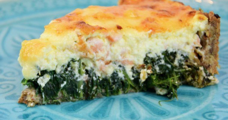 Low Carb Spinat-Lachs-Quiche (Mandelmehl)